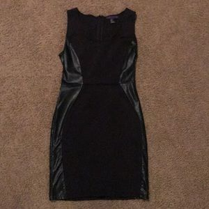 Black Mini Dress with Leather Panelling